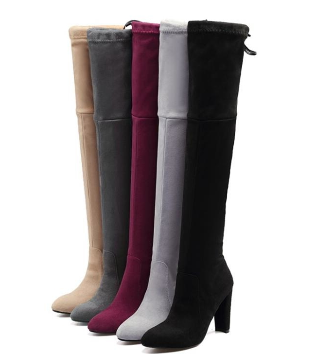 woman zapatos mujer sapato over knee boots pointed toe chunky high heels ladies chaussure women spring autumn shoes XZ180027 women shoes scarpe donna elastic boots botines mujer sapato feminino round toe chaussure femme schoenen vrouw over knee boots