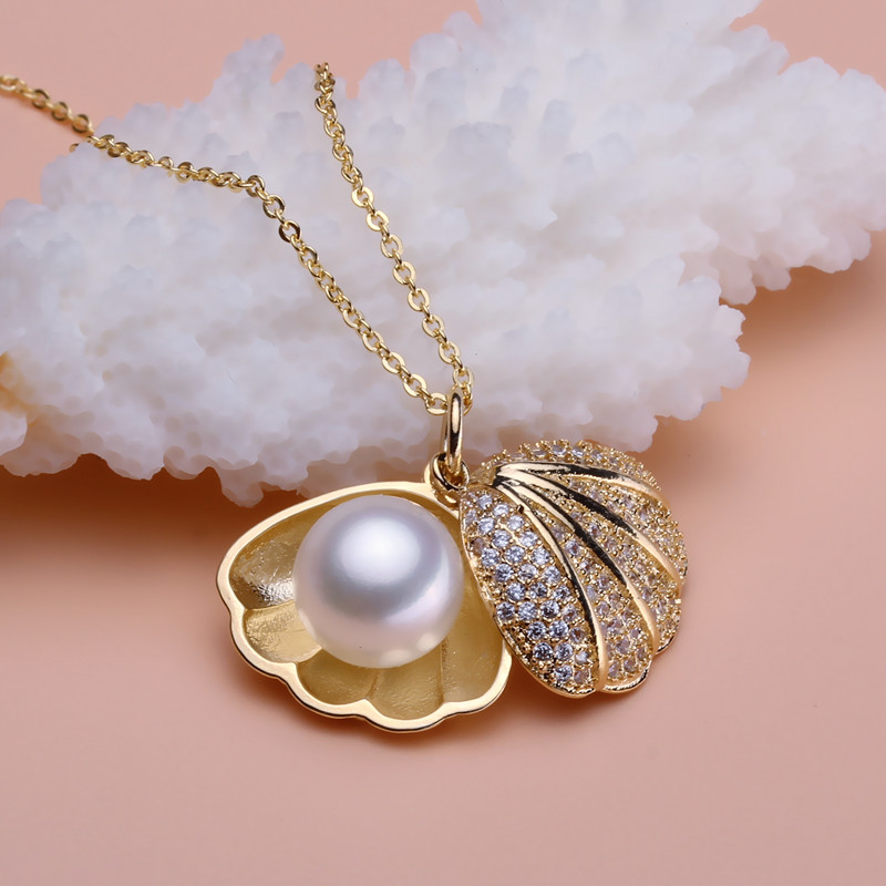 Women Gift word 925 Sterling silver real [bright pearl] shell fashion, fresh water pearl pendant, pearl pendant necklace, female цена