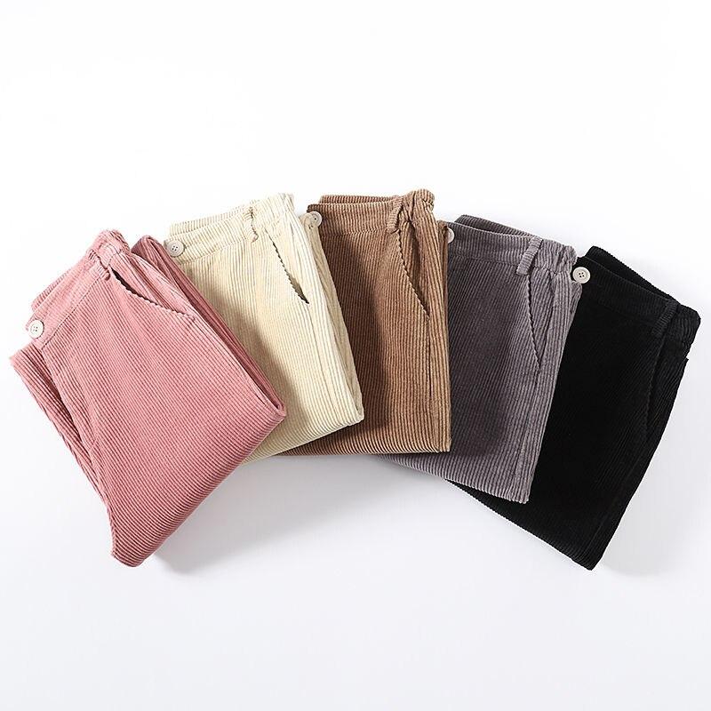 Autumn Corduroy   Wide     Leg     Pants   Women Casual Elastic Waist Straight Women Winter   Pants   Pantalon Femme Women   Pants   Trousers C5026