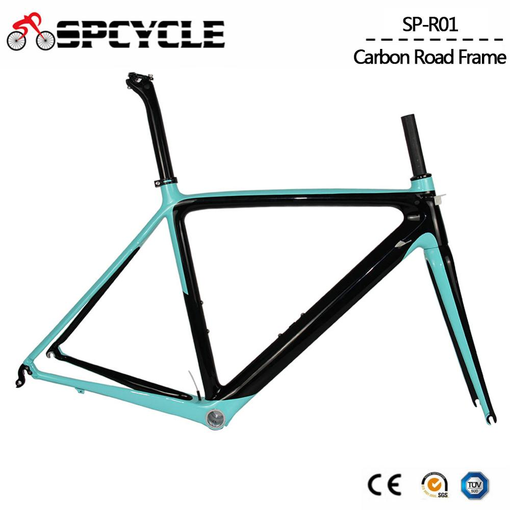 Spcycle 2019 New Model Carbon Road Bike Frame Di2 And Mechanical Racing Bicycle Frameset BSA Size 50/53/55cm 9 Colors Available