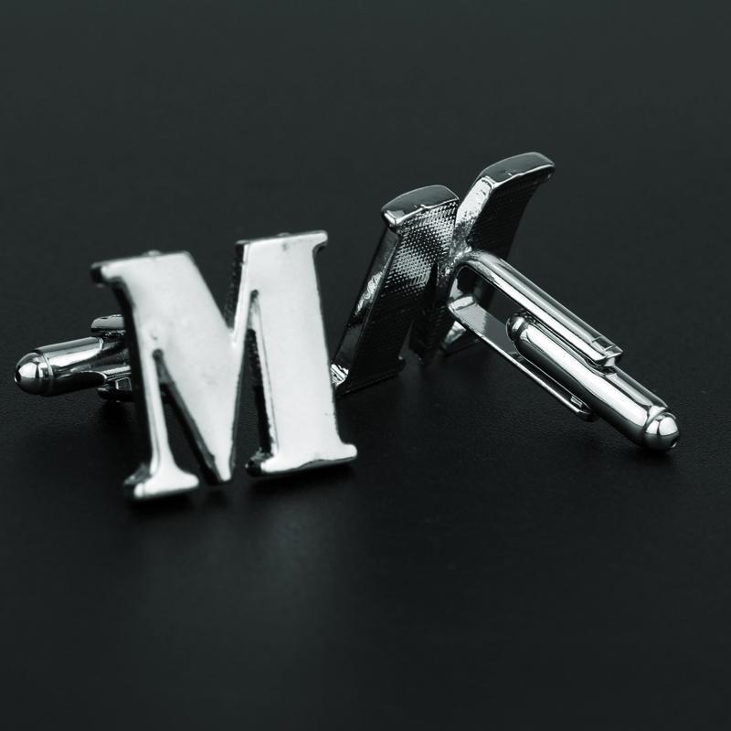 Fashion Alloy Cufflinks for Men Shirt Suit Cuff Buttons Letter M Cuff Links Pins Gentleman Women Gifts