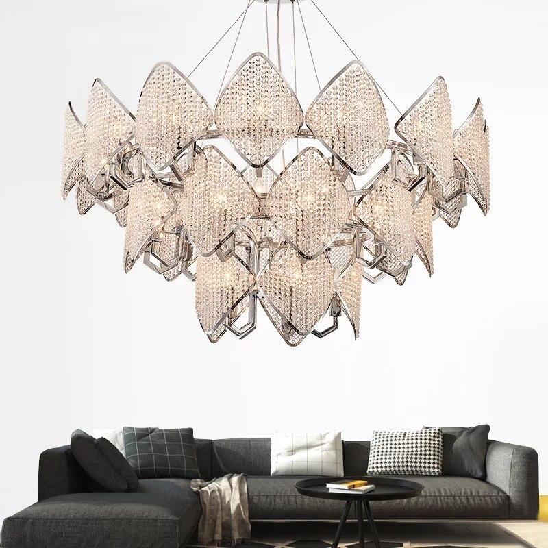 Modern diamond crystal Pendant Light LED ring Pendant Lamp living room bedroom restaurant simple duplex Suspension Lighting G842