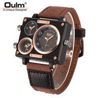 Men Watches 2015 New Fashion Sport Oulm Japan Double Movement Square Dial Compass Function Military Cool