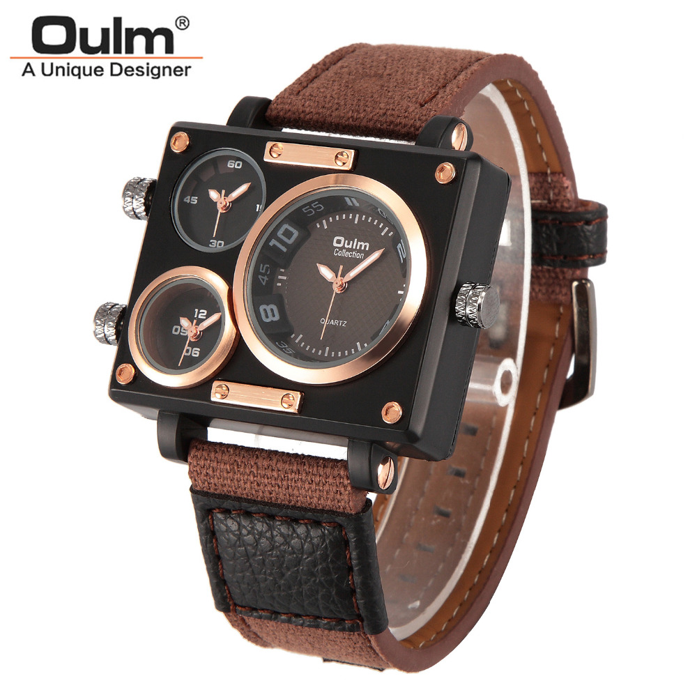 Men Quartz Watches New Fashion Sport Oulm Japan Double Movement Square Dial Compass Function Military Cool Stylish Watch relojio