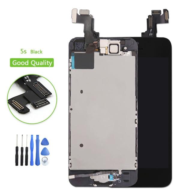 84f2dc00f8f Negro Para el iphone 5S Pantalla LCD de Pantalla Táctil Digitalizador +  Frame + Botón inicio