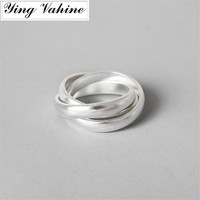 ying Vahine Hot Sale New Authentic 990 Sterling Silver Jewelry Unique Design Frosted Three Rings for Women