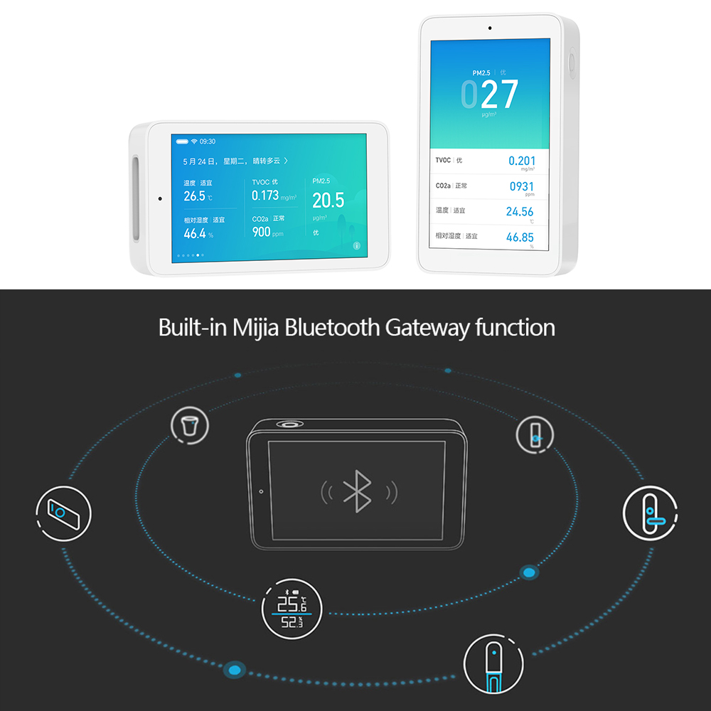 Image 3 - Original Xiaomi Mijia Air Detector High precision Sensing USB Interface 3.97 inch touchscreen humidity sensor PM2.5 tester CO2a-in Smart Remote Control from Consumer Electronics