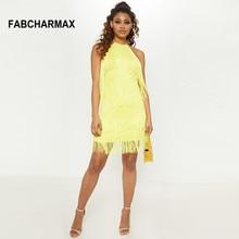 New arrival halter yellow tassel dress women backless bodycon sexy layered fringes festival vestidos summer dresses 2019