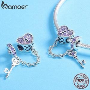Image 2 - BAMOER 100% 925 ayar gümüş anahtar kalp kilit kristal CZ zincir Charms Fit Charm bilezikler & kolye zincir takı SCC772
