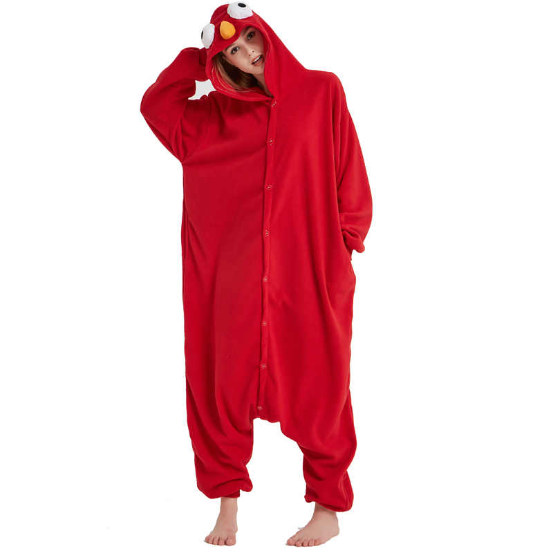 15a5044f Hot Red Adult Sesame Street Elmo Kigurumi Cartoon Cookie Monster Pajamas  Party Bodysuit Cosplay Sleepwear Halloween