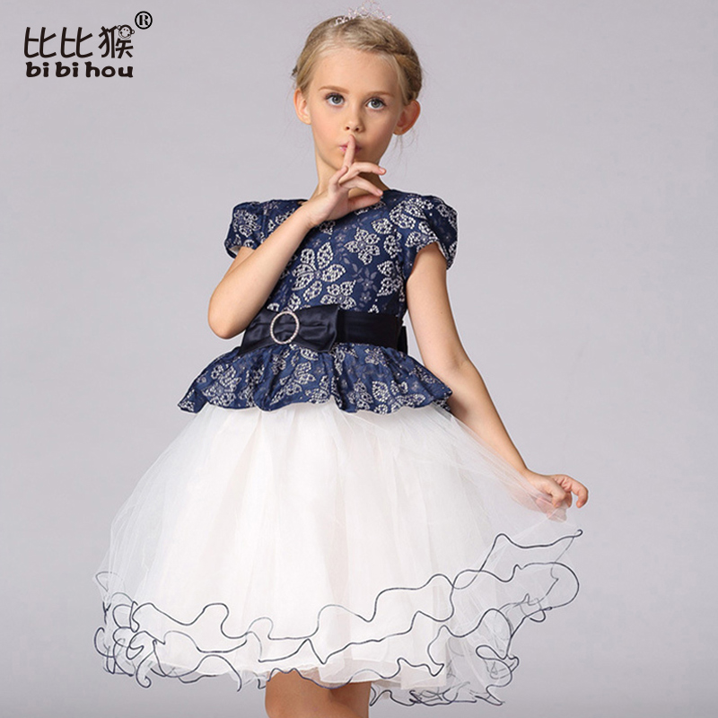 2-9yrs New Summer Girl Dress With Big Bow Baby Girls Princess Flower Party Dresses Children Clothing Vestidos de Menina Infants american country leaf branch flower pastoral non woven wallpaper bedroom living room 3d stereoscopic background wallpaper mural