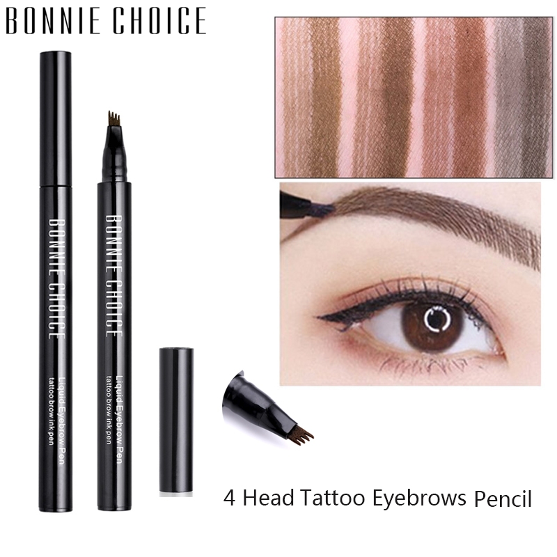 BONNIE CHOICE Microblanding Tattoo Eyebrows Pencil Waterproof Natural Eye Brow Long Lasting 4 Head Fine Sketch Enhancer Makeup