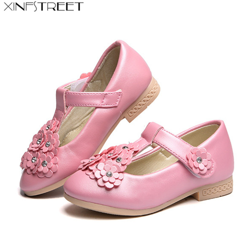 Xinfstreet Girls Shoes Leather Flower Cute Little Kids Shoes For Girls Princess Children Dance Shoes Size 26-36