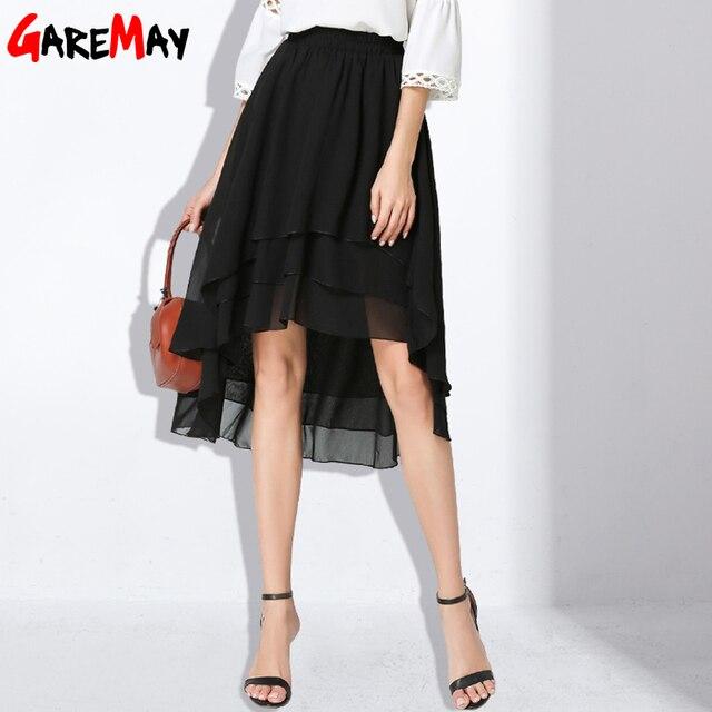3481fb597e Negro Faldas Para Mujer Asimétrico Midi Falda de Gasa Capa Elástico de La  Cintura Femenina Falda