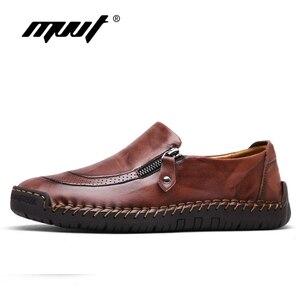 الكلاسيكية مريحة الرجال حذاء كاجوال المتسكعون حذاء رجالي جودة انقسام أحذية من الجلد الرجال الشقق حار بيع الأخفاف الأحذية زائد حجم