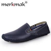 Merkmak Big Size 38 46 Handmade Men Shoes Genuine Leather Men Flats Comfort Driving Shoes Soft