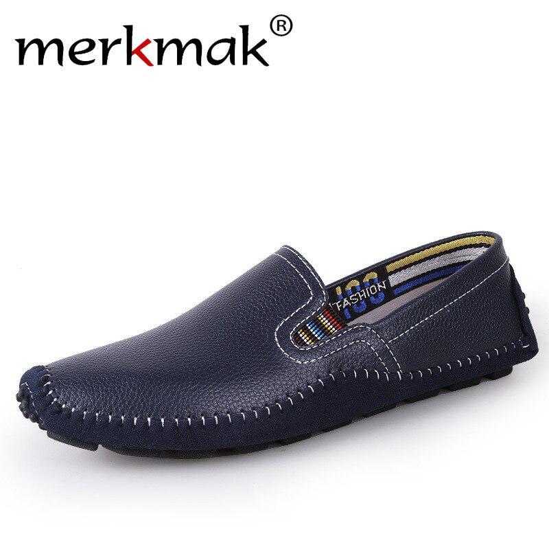 Merkmak Tamaño Grande 38 ~ 47 Hecho A Mano de Los Hombres Zapatos de Cuero Genui