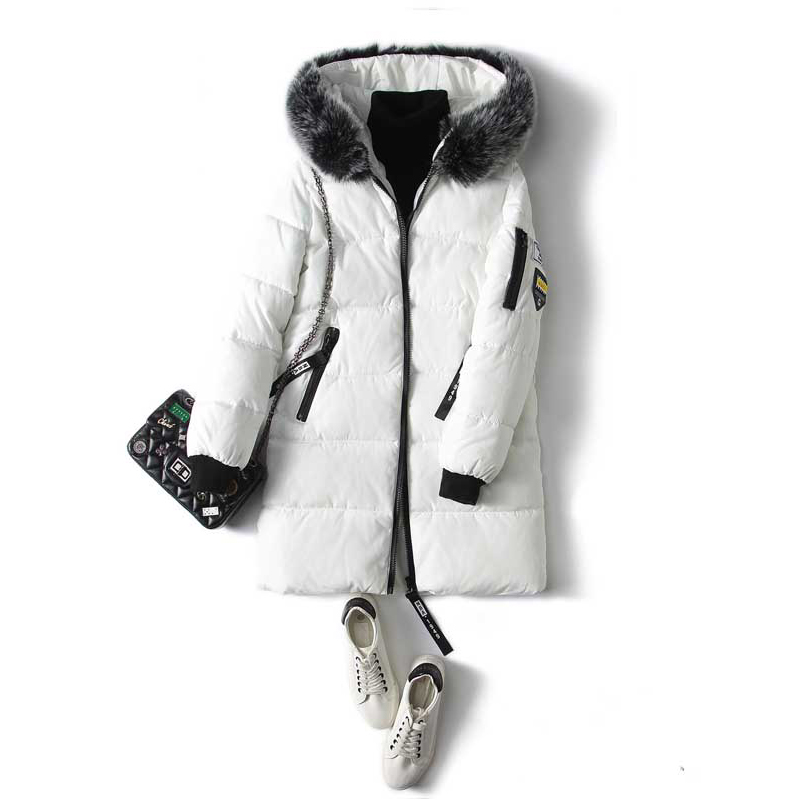 White Winter Women Coats and Jackets 2017 Hot Sale Fashion Removable fur collar Slim Long Parkas Female Winter Thick Outwear