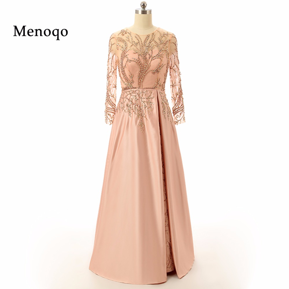 2019 Real Photo Mother Of The Bride Dresses A line Floor length See through Long sleeve Beaded Women Evening Formal Gowns