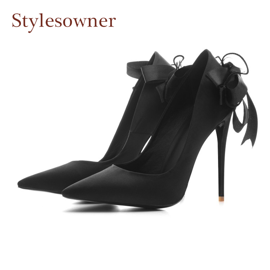 Stylesowner luxury silk spring new women pump sexy pointed toe stiletto heel party wedding shoe back butterfly knot runway shoes