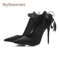 Stylesowner molla nuove donne di seta di lusso pompa punta aguzza sexy tacco a spillo scarpe da sposa partito indietro nodo della farfalla scarpe pista
