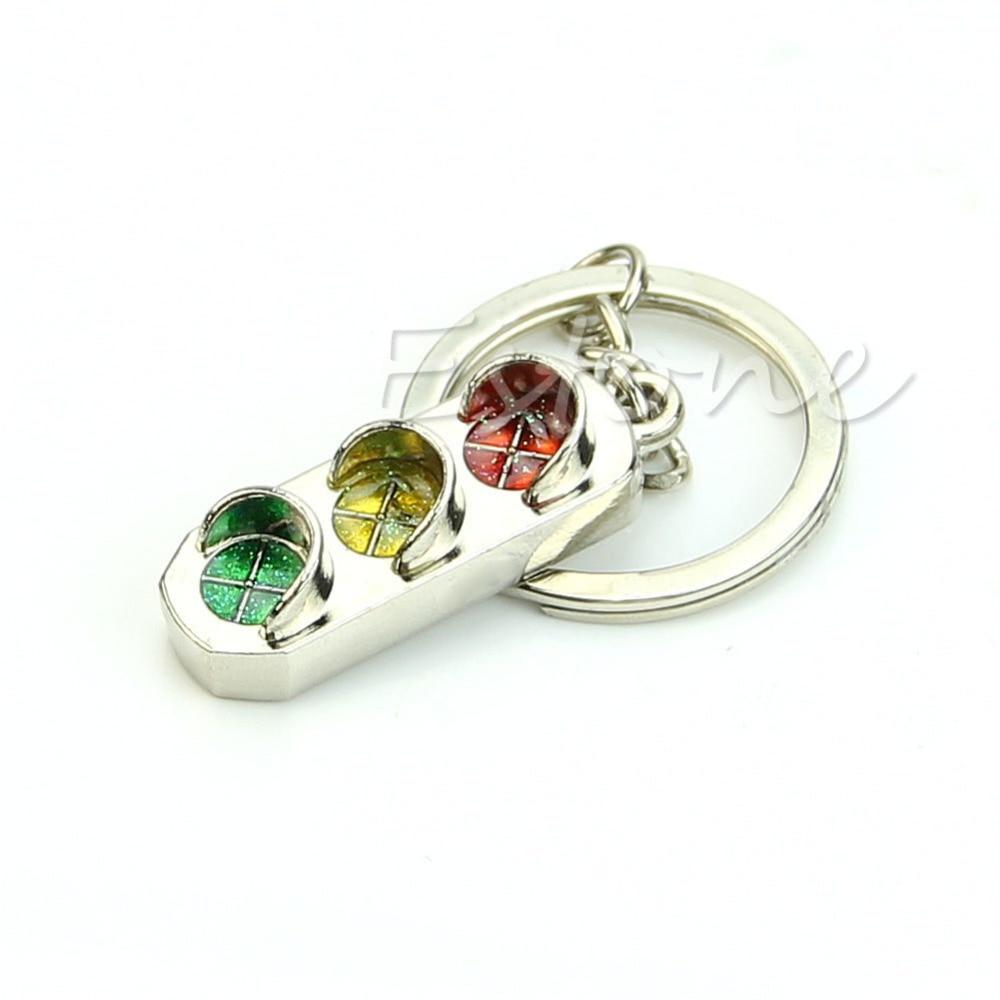 New Mini 3D Traffic Light Chain Classic Keychain Fine Gift Car Key Ring Keyring