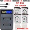 4x Batería NP-BX1 np bx1 NPBX1 batería 1600 mAh + dual cargador para sony hdr-as100v as100v as30 as15 dsc-rx100 hx400 wx350 cámara