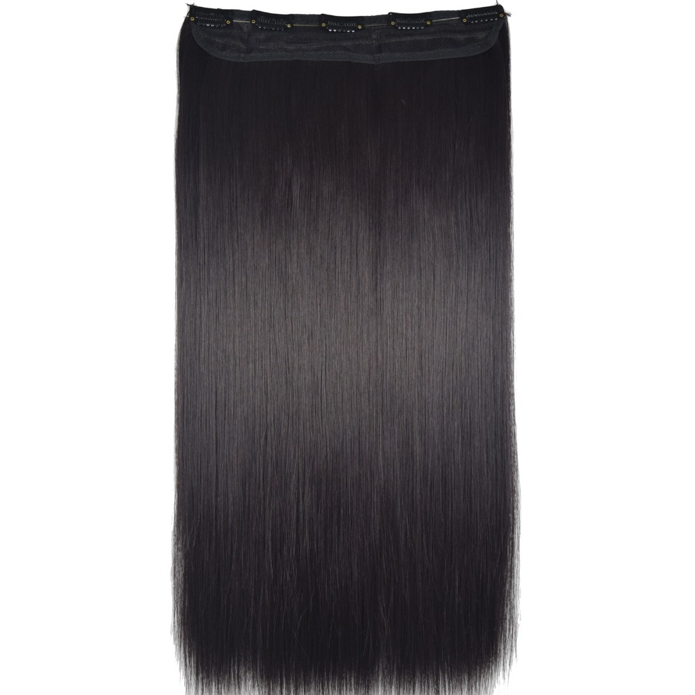 """TOPREETY Heat Resistant B5 Synthetic Fiber 24"""" 60cm 120gr Silky Straight 5 clips on clip in hair Extensions"""