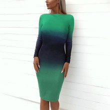 Womens Sexy Dress Backless Long Sleeve Gradient color Elegant Stretchy Slim Evening party Knee-Length Dress Women Clothes