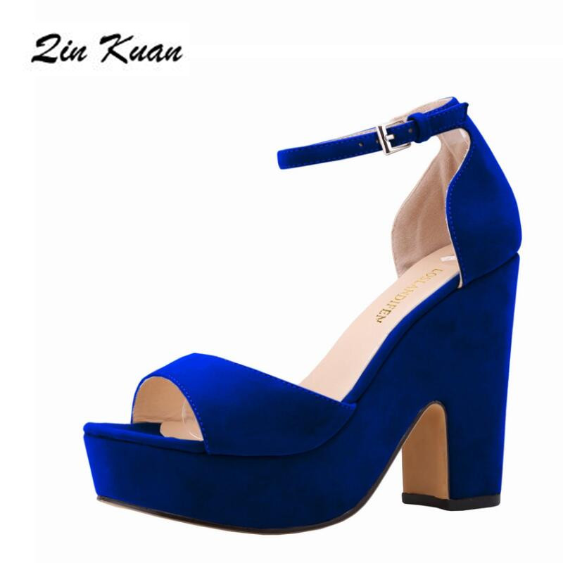 Hot Sale Plus Size Women Open Toe Suede Platform Party High Heel Shoes Ladies Fashion Ankle Buckle Summer Daily Pumps QKP0256A
