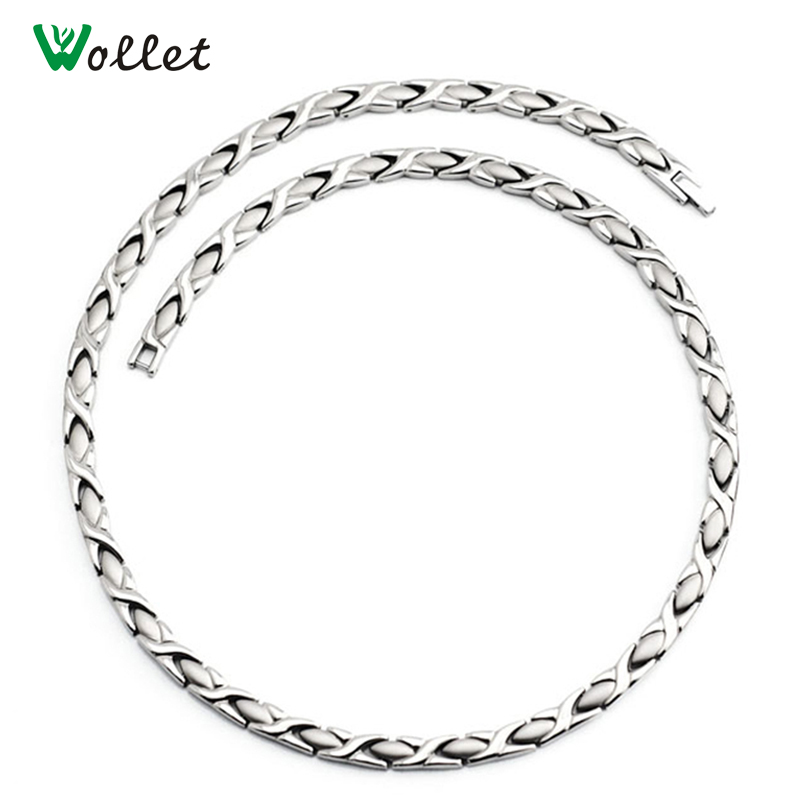 Wollet Jewelry Health Energy Pure Titanium Hematite Germanium Infrared Magnetic 3 In 1 Elements Necklace for Men Women