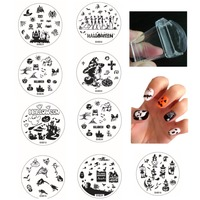 Halloween Nail Art Round Stainless Stamping Plate Stamp 10 Steel Plates 1 Jelly Stamper Scraper DIY