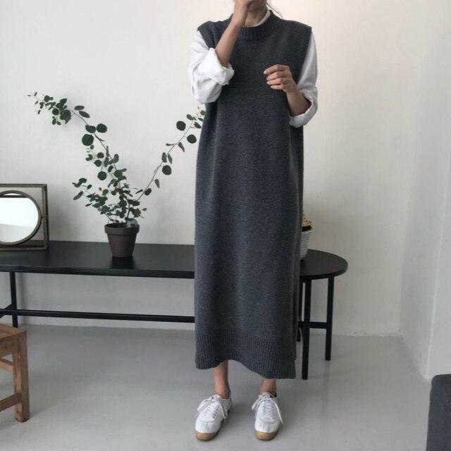 Осенне-зимняя Дамская обувь без рукавов Безрукавка длинное платье женский прямой жилет вязаный Vestido свободные сарафан роковой одежда