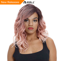 Noble Synthetic Hai Wig 16 Inch Medium Wavy Pink Cosplay Wig Heat Resistant Wigs for Black Women Synthetic Lace Front Wig