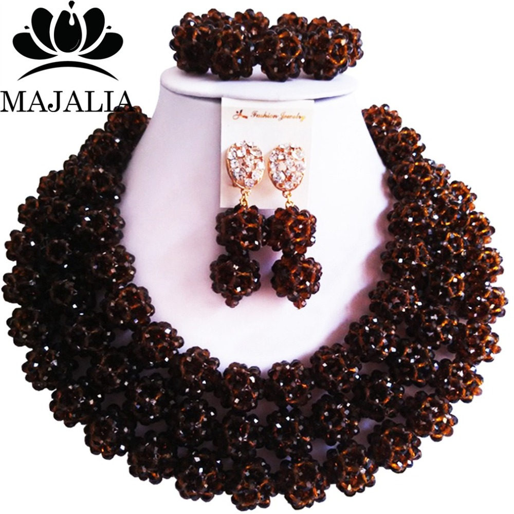 Majalia Fashion Nigeria Wedding African Beads Jewelry Set Brown Crystal Necklace Bridal Jewelry Sets Free Shipping 3CZ011Majalia Fashion Nigeria Wedding African Beads Jewelry Set Brown Crystal Necklace Bridal Jewelry Sets Free Shipping 3CZ011
