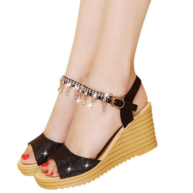 26b0844faf482e Women Sandals girls shoes woman high heel platform slip on shoes diamond platform  silver gold 8 cm zapatos mujer 2018 gifts new