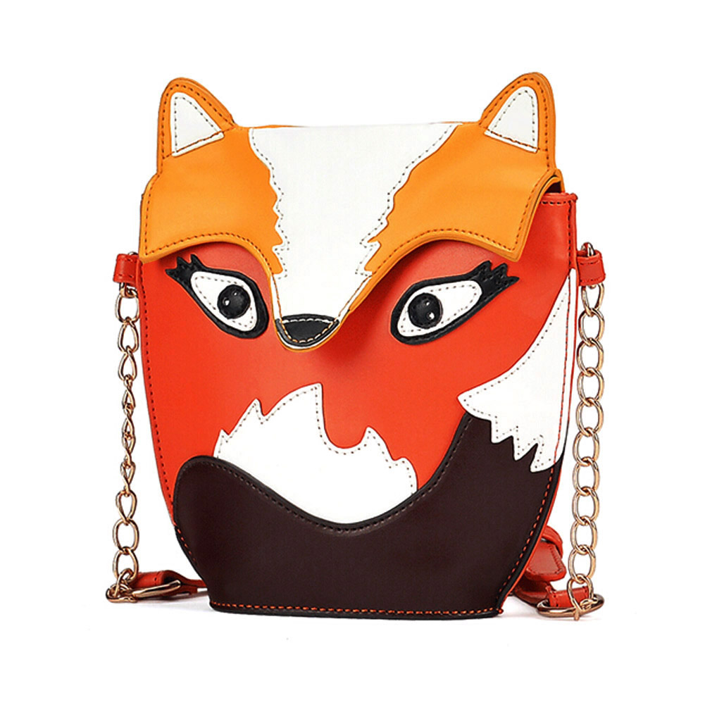 2017 Hot Sale Cartoon Fox Owl Design PU Leather Handbag Shoulder Bag Messenger Bag Retro Style LXX9