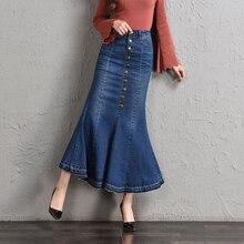 Denim Skirt Womens 2018 Jeans Button Front mermaid Skirt Women Summer Long Jeans Skirt Woman faldas plush size