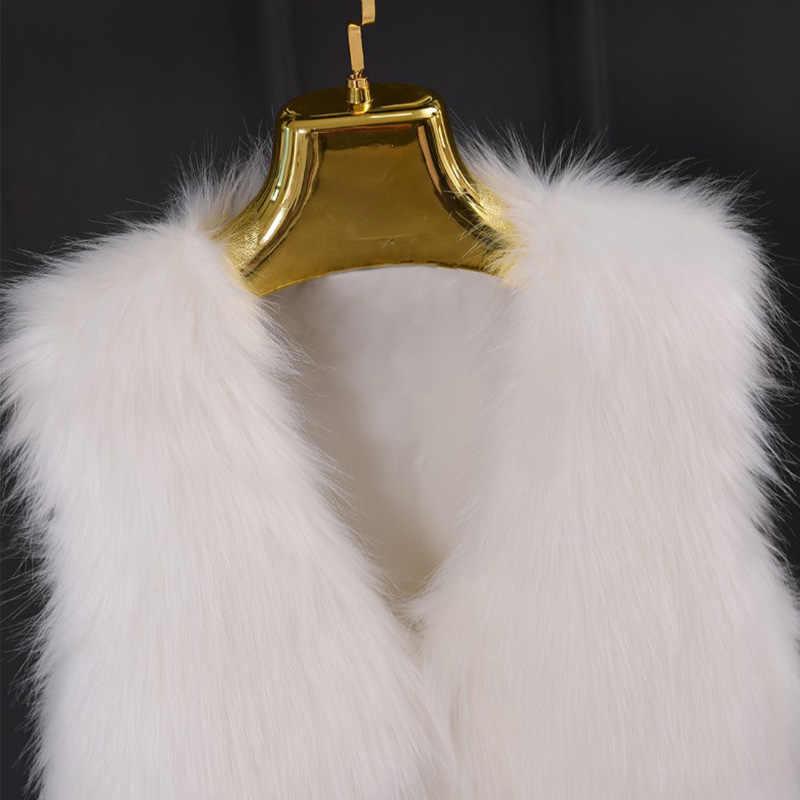 Chaleco de piel sintética de invierno para mujer con cuello en V sin mangas, chaleco de piel Artificial, abrigo peludo para mujer, chaleco de talla grande XXXL