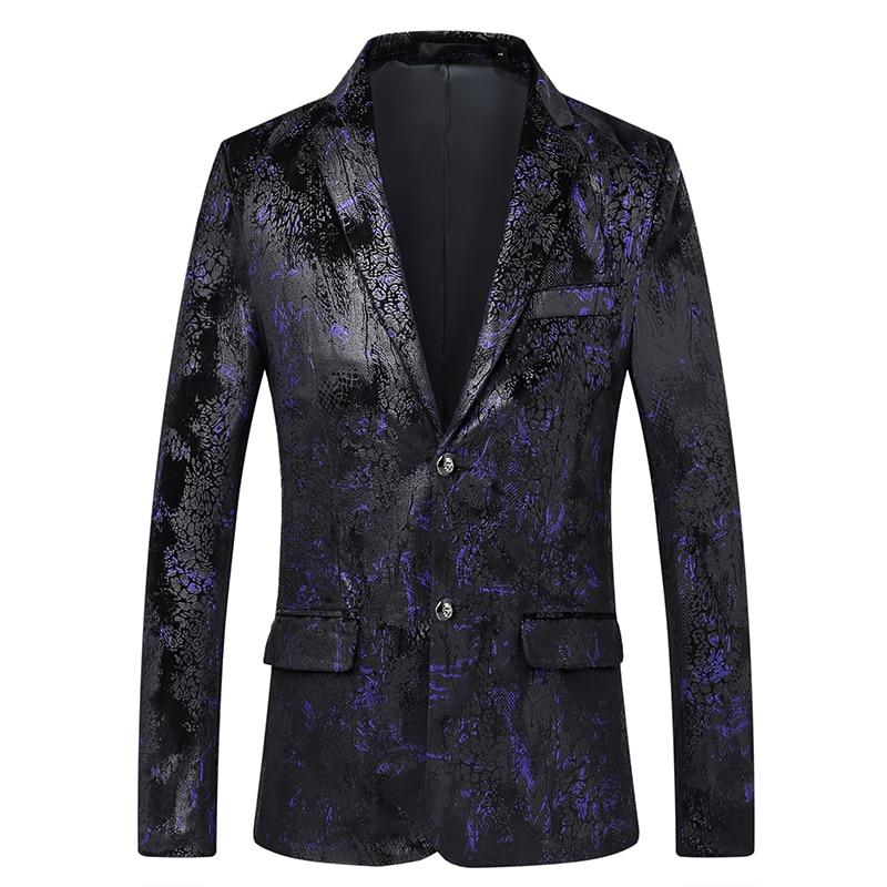 fashion printed mens designer blazer long sleeve 2019 new single breasted coat men