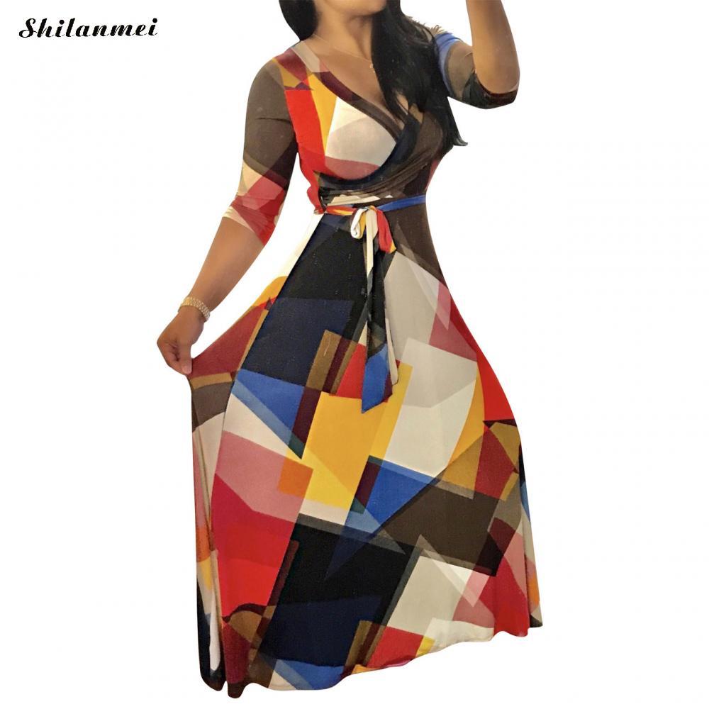 Geometryczne długie sukienka z paskiem kobiety lato 2018