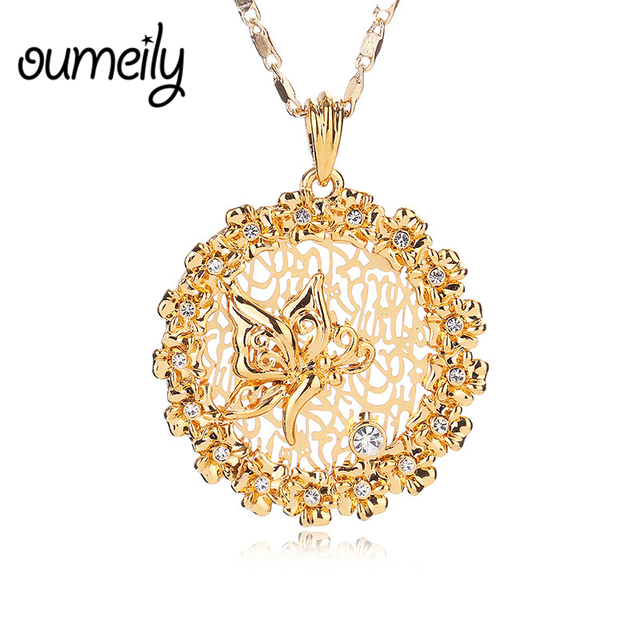 Oumeily jewelry islamic pendant allah butterfly necklace for men oumeily jewelry islamic pendant allah butterfly necklace for men women trendy gold color imitated crystal choker aloadofball Images