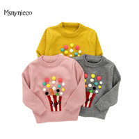 Girls Knitted Sweater 2017 Autumn Winter Kids Sweater Print Long Sleeve Pullover Sweaters For Infant Toddler