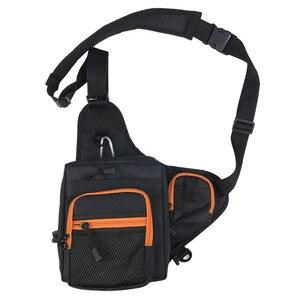 Image 2 - 낚시 슬링 팩 어깨 슬링 물고기 가방 캔버스 방수 미끼 태클 가방 허리 팩 낚시 다목적 가방