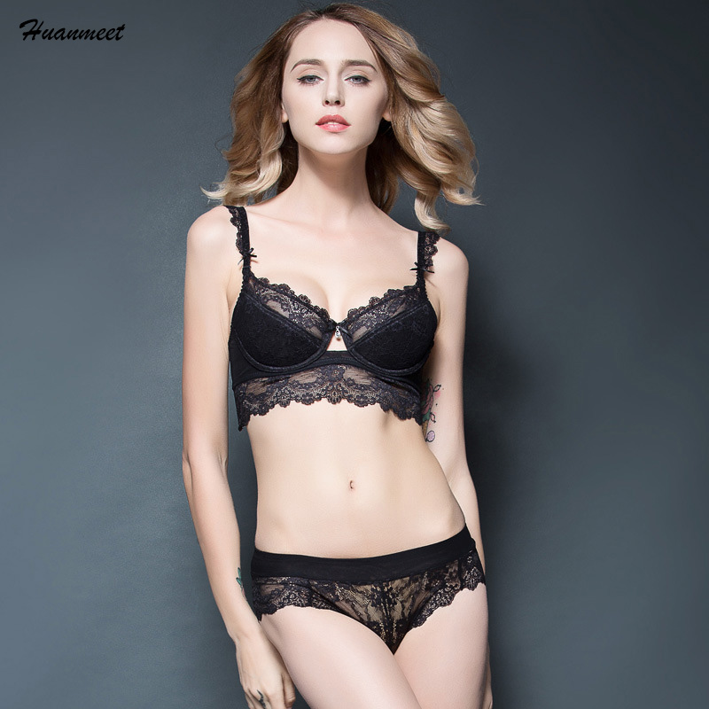 Free Shipping Lingerie Noble Sexy Black Butterfly Embroidery Bra Set Adjustable Bra Ultra-thin Transparent Lace Underwear