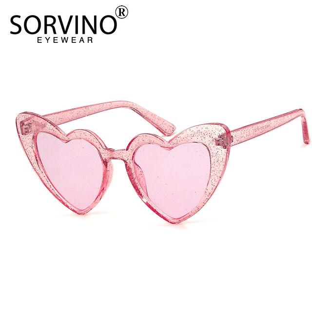 879feca69dc4 SORVINO GLITTER Heart Shape Cat Eye Sunglasses Women Designer Retro Bling  Lolita Cute Lady Cateye Sun