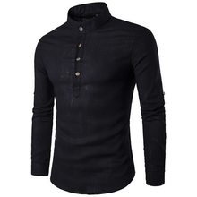Laamei New Men Casual Shirt Cotton Linen Blended Mandarin Collar Breathable Comfy Traditional Chinese Style Long Sleeve Shirts(China)