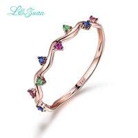 L & Zuan 14 K רוז זהב צבעוני תכשיטי אודם אבן חן לנשים טרנדי משולש תכשיטי יוקרת טבעת פשוט אביזרי 0009