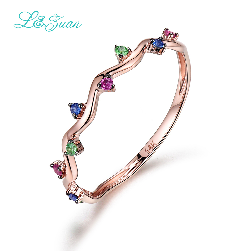 L&Zuan 14K Rose Gold Colorful Gemstone Rings For Women Ruby Jewelry Trendy Triangle Ring Fine Jewelry Simple Accessories 0009L&Zuan 14K Rose Gold Colorful Gemstone Rings For Women Ruby Jewelry Trendy Triangle Ring Fine Jewelry Simple Accessories 0009