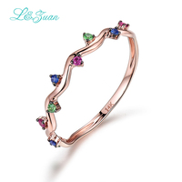 L&Zuan 14K Rose Gold Colorful Gemstone Rings For Women Ruby Jewelry Trendy Triangle Ring Fine Jewelry Simple Accessories 0009